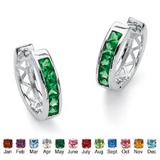 Birthstone Huggie-Hoop Earrings