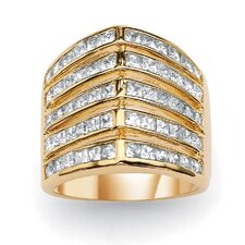 "Princess-Cut Cubic Zirconia ""V"" Band"