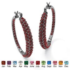 Round Birthstone Hoop Earrings