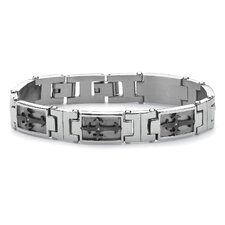 <strong>Palm Beach Jewelry</strong> Men's Cross-Link Cubic Zirconia Bracelet