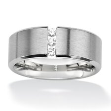 <strong>Palm Beach Jewelry</strong> Stainless Steel Cubic Zirconia Wedding Band