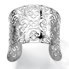 <strong>Palm Beach Jewelry</strong> Wide Floral Cutout Scrollwork Cuff