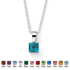 Princess-Cut Birthstone Pendant
