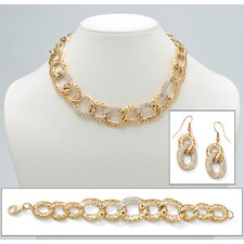 Crystal Curb-Link Jewelry Set