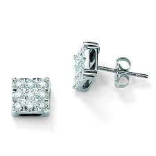 Diamond Square Pierced Earrings