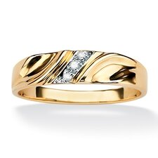 <strong>Palm Beach Jewelry</strong> Men's Diagonal Diamond Accent Ring