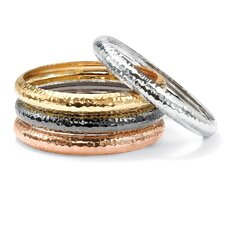 <strong>Palm Beach Jewelry</strong> Hammered Bracelets (Set of 4)