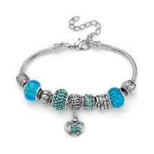<strong>Palm Beach Jewelry</strong> Crystal Bali-Style Charm Bracelet