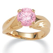 14k Gold Plated Round Pink Ice Cubic Zirconia Ring