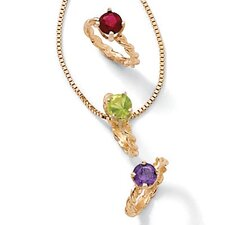 10K Gold Baby Charm Birthstone Ring
