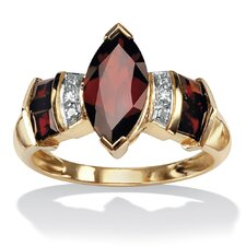 <strong>Palm Beach Jewelry</strong> 10K Gold Marquise Garnet Ring