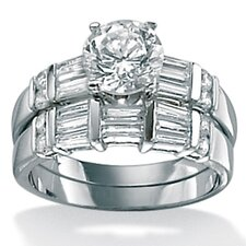 <strong>Palm Beach Jewelry</strong> Sterling Silver Round Cubic Zirconia Wedding Ring Set