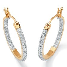 18k Round Diamond Hoop Earrings