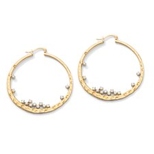 <strong>Palm Beach Jewelry</strong> Round Cubic Zirconia Hammered Hoop Pierced Earrings