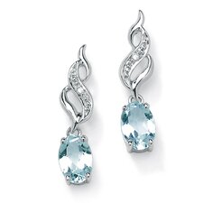 <strong>Palm Beach Jewelry</strong> Oval Cut Aquamarine Drop Earrings