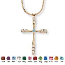 Round Birthstone Cross Pendant