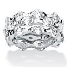 <strong>Palm Beach Jewelry</strong> Platinum Over Sterling Silver DiamonUltra Three Cubic Zirconia Ring (Set of 3)
