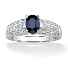 <strong>Palm Beach Jewelry</strong> Gold Oval Sapphire and Diamond Accent Ring