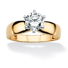 <strong>Palm Beach Jewelry</strong> Gold Round Cubic Zirconia Solitaire Ring