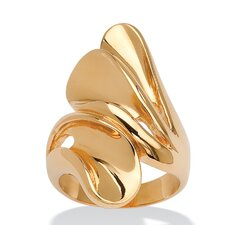 18k Gold Plated Bypass Fan Ring