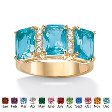 14k Gold Plated Emerald Birthstone Ring