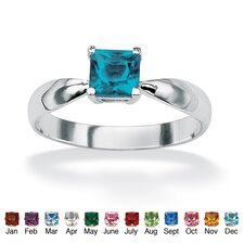 Sterling Silver Princess Birthstone Ring