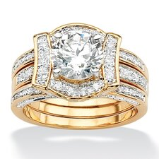 Brass Round Cubic Zirconia Interlocking Wedding Ring Set