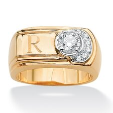 Men's Brass Round Personalized Cubic Zirconia Ring