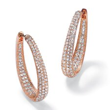 Round and Oval Cubic Zirconia Inside-Out Huggie Earrings