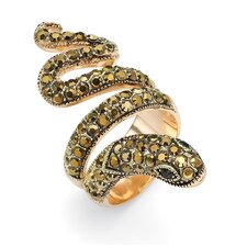 Brass Round Crystal Coiled Snake Ring