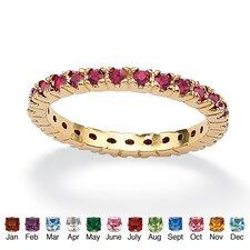 Birthstone Brass Round Eternity Band Ring