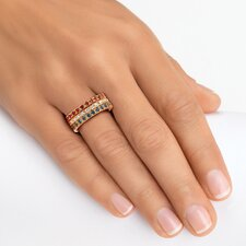 Birthstone Brass Round Eternity Band Ring