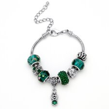 Birthstone-Color Silvertone Bali-Style Beaded Charm And Spacer Bracelet