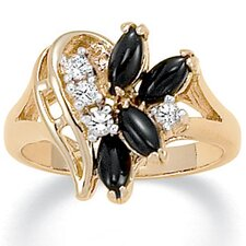 14K Gold Plated Marquise Shaped Onyx and Crystal Ring