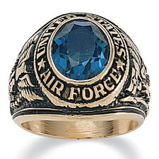 Men's 14K Gold Plated Oval Crystal Air Force Ring