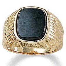 Men's 14K Gold Plated Emerald Onyx Ring
