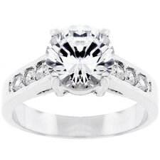 Silvertone Cubic Zirconia Wom Ring