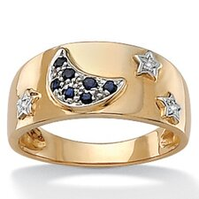 <strong>Palm Beach Jewelry</strong> Blue Sapphire 10k Moon and Star Ring