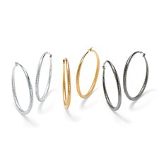 3 Pairs of Textured Hoop Pierced Earrings