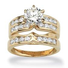 Cubic Zirconia Channel Wedding Ring Set