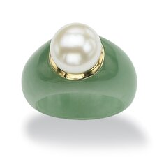 Jade and Freshwater Pearl Ring