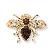 Bee Smoky Quartz Pin