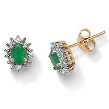 <strong>Palm Beach Jewelry</strong> Oval Cut Emerald Stud Earrings