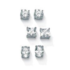 3 Pairs of Cubic Zirconia Stud Earrings