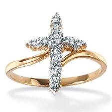 10k Yellow Gold Round Cut Diamond Ring