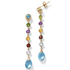 10k Yellow Gold Gemstone Drop Earrings