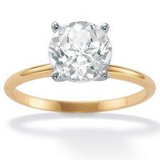 10k Yellow Gold Round Topaz Bridal Ring