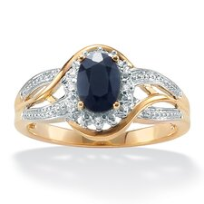 <strong>Palm Beach Jewelry</strong> 10k Yellow Gold Oval Cut Sapphire Halo Ring