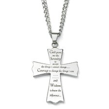 Stainless Steel Serenity Prayer Cross Pendant