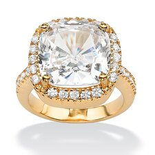14k Yellow Gold Cushion Cut Cubic Zirconia Halo Ring